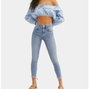 Free People Crvy Frayed Hem Skinny Jeans 24